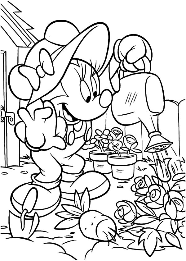 garden minnie mouse working in the garden coloring pages - Garden Coloring Pages