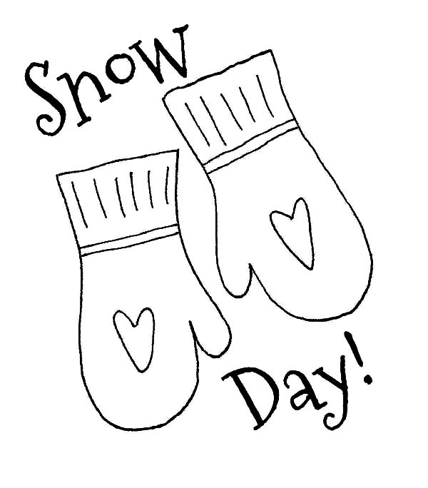 Mittens for Snow Day Coloring Pages  Color Luna