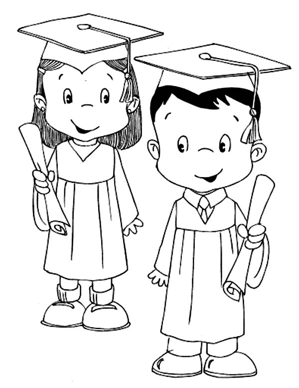 graduation cap and diploma picture coloring pages color luna