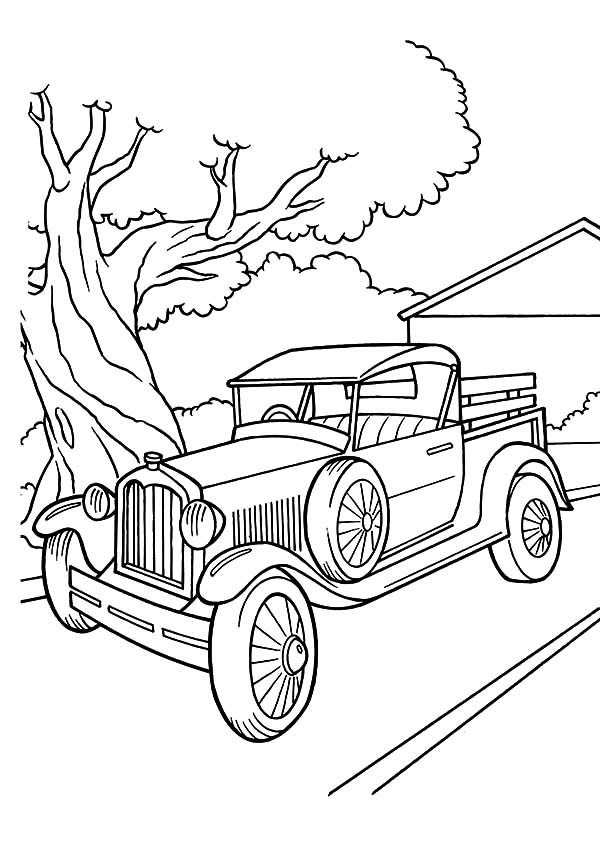 Model t Car, Model T Car Parked Beside A Tree Coloring Pages: Model T Car Parked Beside a Tree Coloring Pages