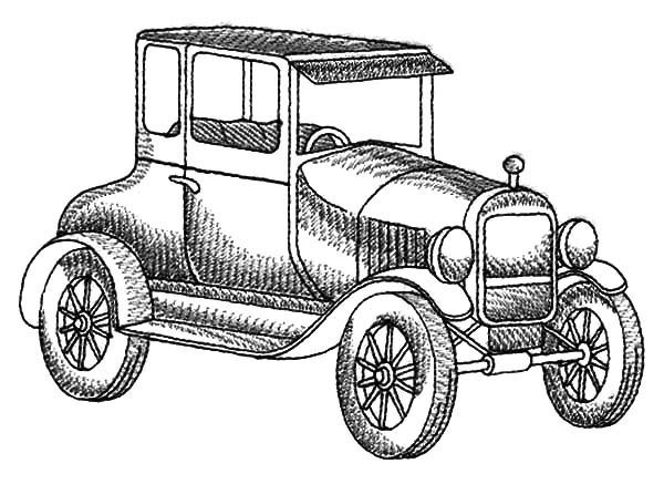 Model t Car, Model T Car Sketch Coloring Pages: Model T Car Sketch Coloring Pages