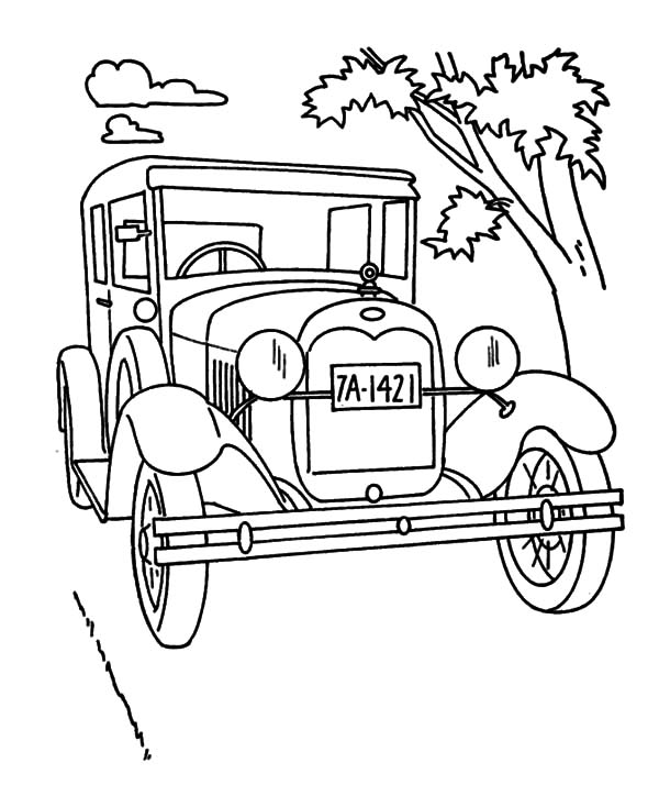 Model t Car, Model T Car On The Road Coloring Pages: Model T Car on the Road Coloring Pages