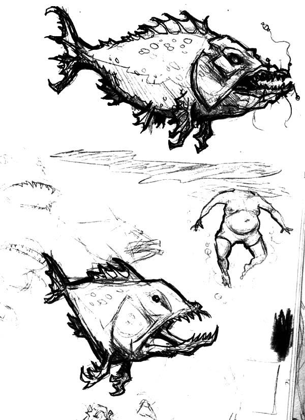 Monster Fish, Monster Fish Attacking Human Coloring Pages: Monster Fish Attacking Human Coloring Pages