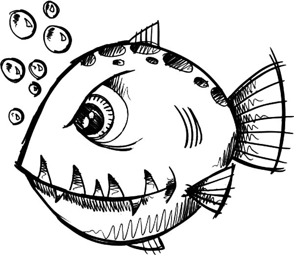 monster fish coloring pages - Fish Coloring Pages