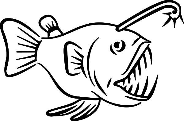 Monster Fish Sharp Teeth Coloring Pages