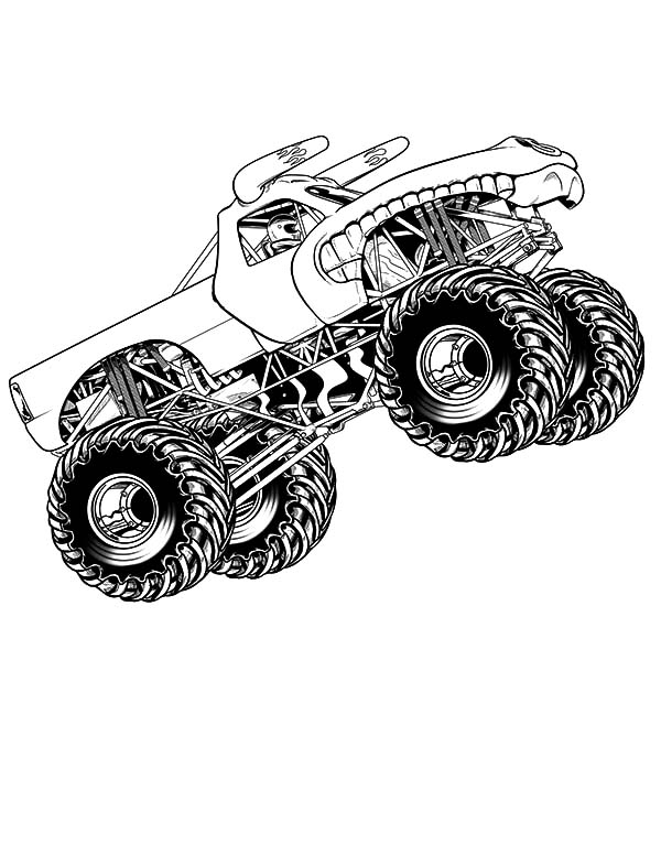 Monster Jam, Monster Jam Bigfoot Jumper Coloring Pages: Monster Jam Bigfoot Jumper Coloring Pages