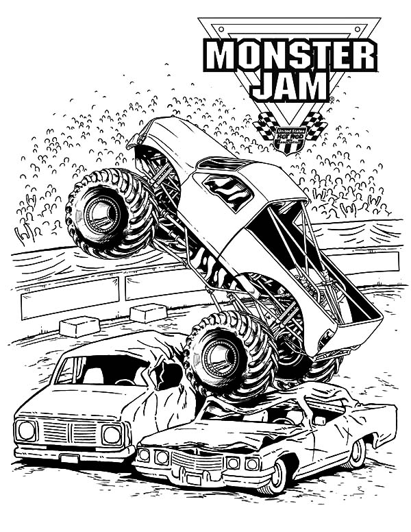 Monster Jam, Monster Jam Crushing Cars Coloring Pages: Monster Jam Crushing Cars Coloring Pages