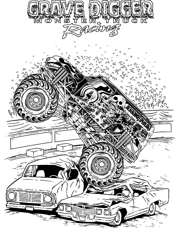 Monster Jam Grave Digger Coloring Pages