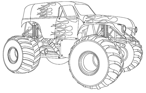 Monster Jam Truck on Fire Coloring Pages Color Luna