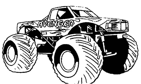 monster truck avenger monster jam coloring pages