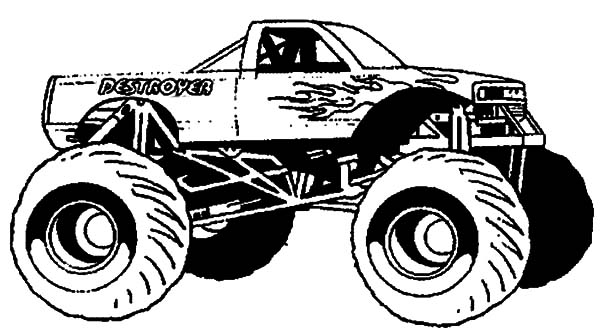 Monster truck ready for monster jam show coloring pages