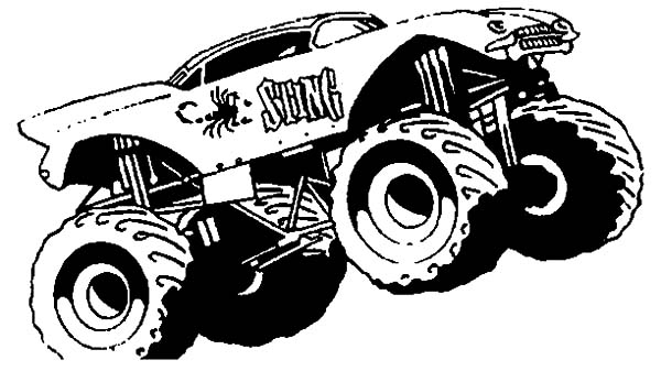 monster truck sting monster jam coloring pages
