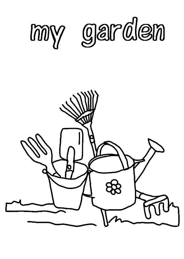hoe garden tool coloring pages - photo#12