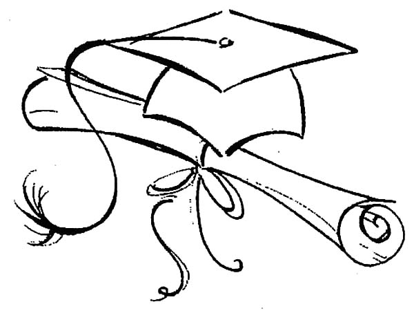 graduation northwoods sketch graduation cap and diploma coloring pages