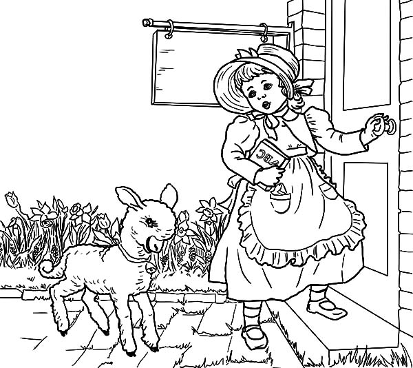 Mary Had A Little Lamb Nursery Rhyme Coloring Pages