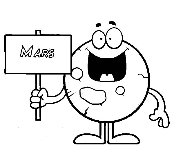 Mars, Planet Mars Holding A Sign Coloring Pages: Planet Mars Holding a Sign Coloring Pages
