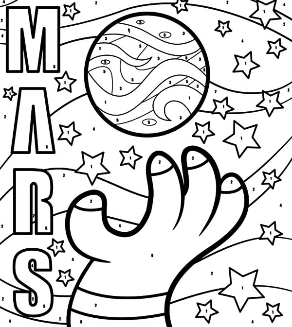 Mars, Planet Mars Space Object Coloring Pages: Planet Mars Space Object Coloring Pages