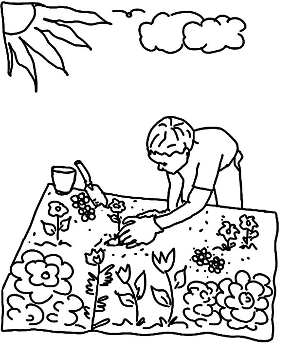 garden planting seed in flower garden coloring pages