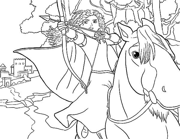 Merida, Princess Merida Aiming Target While Riding Horse Coloring Pages: Princess Merida Aiming Target While Riding Horse Coloring Pages
