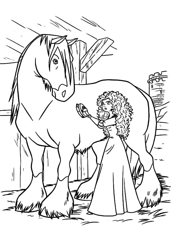 princess merida cleaning her horse coloring pages - Coloring Pages Horse