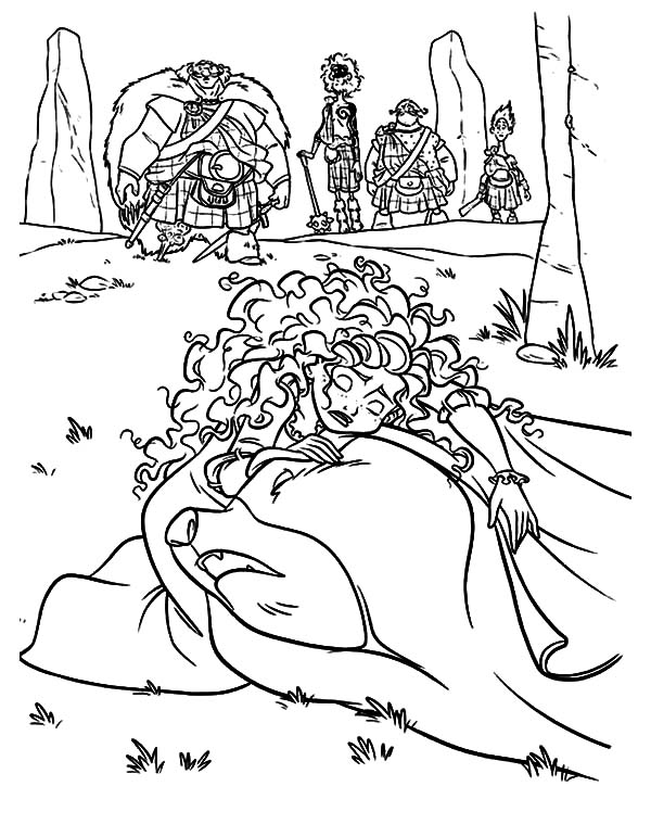 Merida, Princess Merida Crying Over Her Mother Coloring Pages: Princess Merida Crying Over Her Mother Coloring Pages
