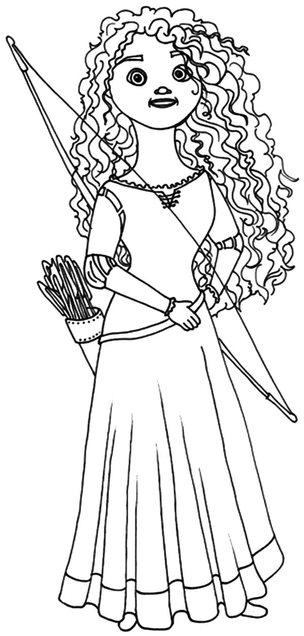 Queen Elinor Riding Horse With Merida Coloring Pages