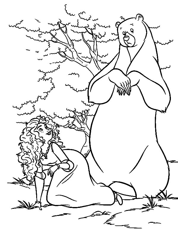 Merida, Princess Merida Fooling Around With Her Mother Queen Elinor Coloring Pages: Princess Merida Fooling Around with Her Mother Queen Elinor Coloring Pages