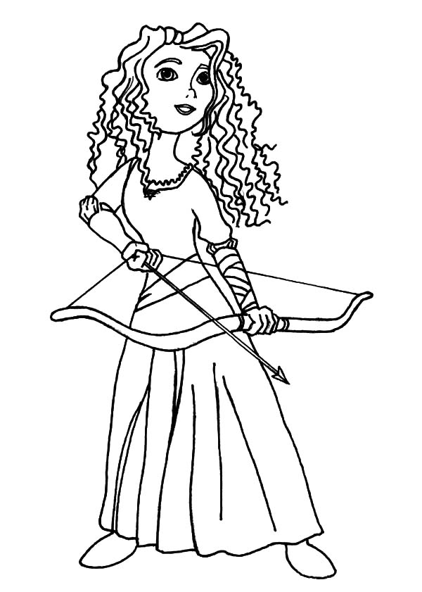 Merida, Princess Merida Prepare With Her Arrow And Bow Coloring Pages:  Princess Merida Prepare