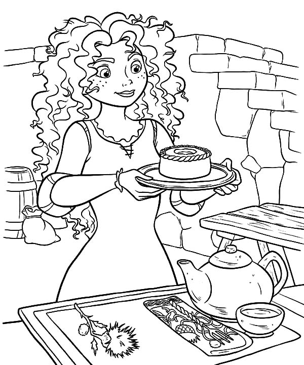 Princess Merida Serving Cookie And Tea Coloring Pages