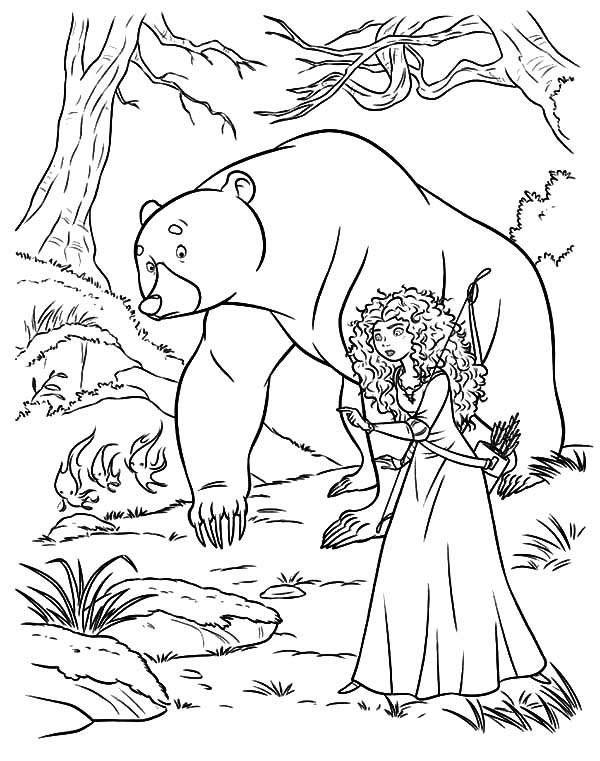 Merida, Princess Merida And Her Mother Following Will O The Wisps Coloring Pages: Princess Merida and Her Mother Following Will O the Wisps Coloring Pages