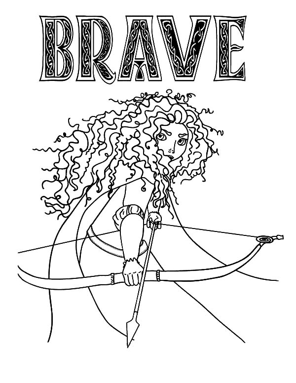 Princess Merida Prepare with Her Arrow and Bow Coloring Pages