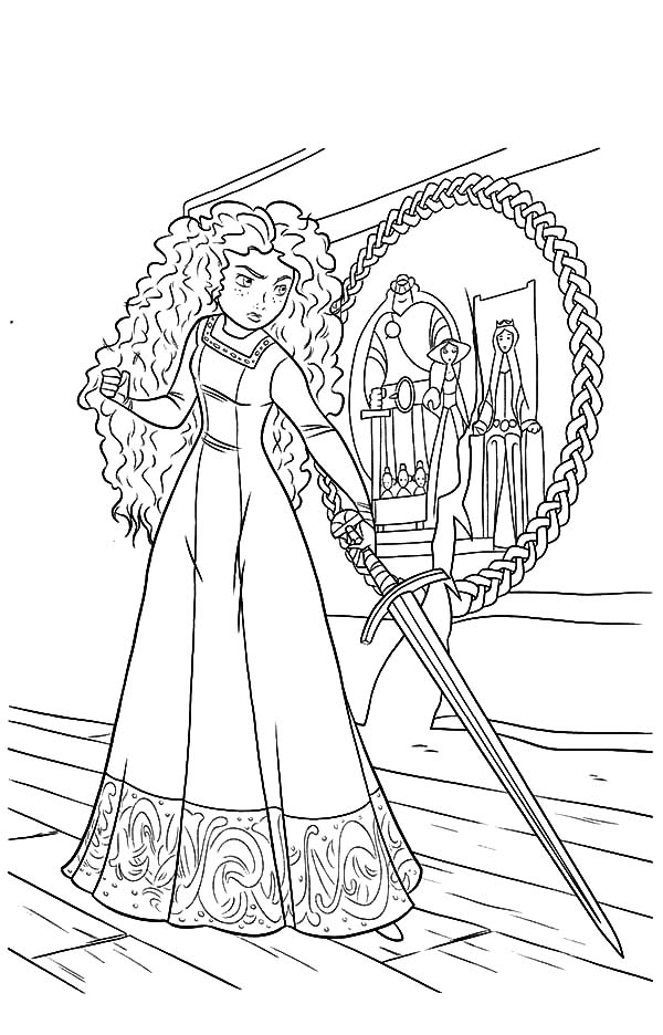 Merida Princess Is So Mad To Her Mother Coloring Pages
