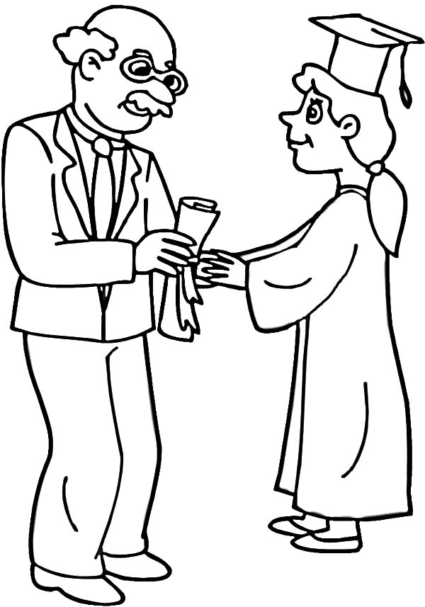 graduation professor handed diploma to student on graduation day coloring pages