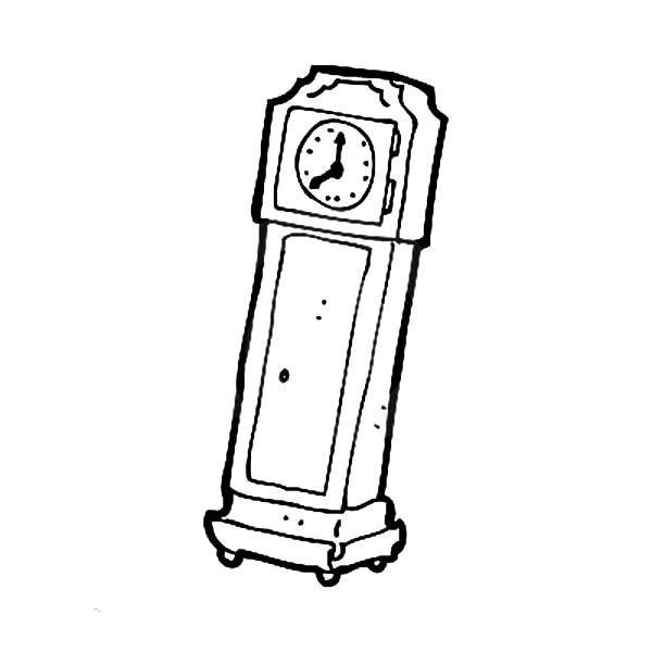 Grandfather Clock, Retro Style Grandfather Clock Coloring Pages: Retro Style Grandfather Clock Coloring Pages
