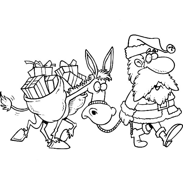 Mexican Donkey, Santa Walking With A Mexican Donkey Coloring Pages: Santa Walking with a Mexican Donkey Coloring Pages