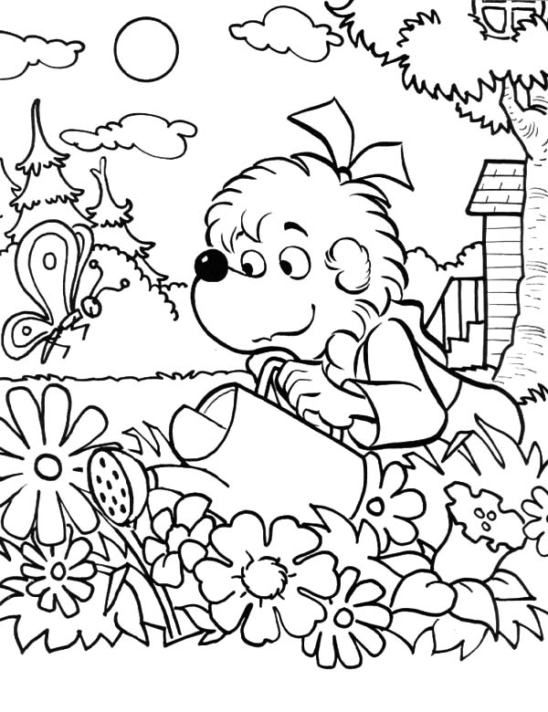 garden sister bear watering the garden coloring pages