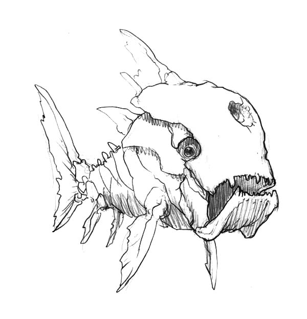 Skecthing Ancient Monster Fish Coloring Pages