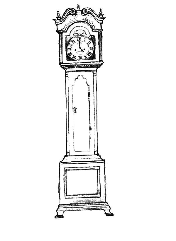 Grandfather Clock Cartoon Coloring
