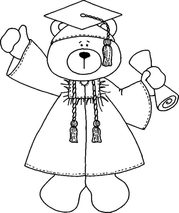 smart bear graduation coloring pages