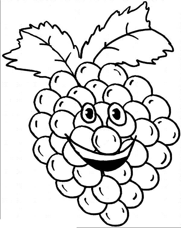 Grapes, Smiling Grapes Coloring Pages: Smiling Grapes Coloring Pages
