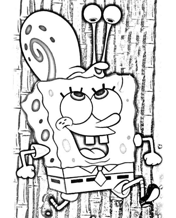 Gary, Spongebob Carrying Gary The Snail On His Head Coloring Pages: Spongebob Carrying Gary the Snail on His Head Coloring Pages