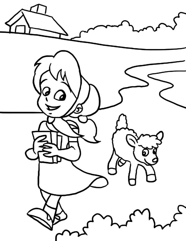 sweet smile mary had a little lamb coloring pages
