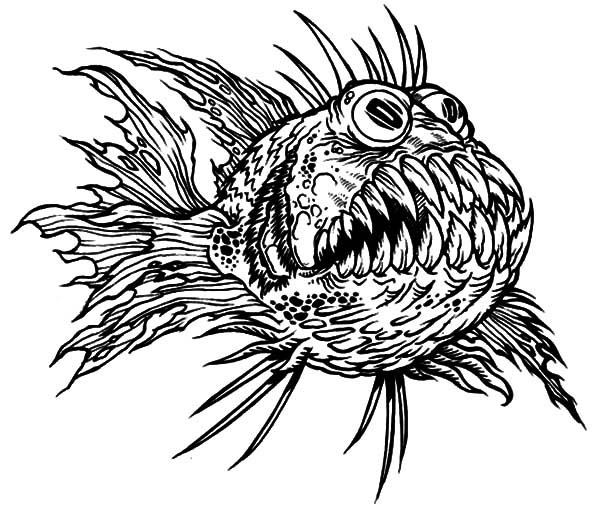 Terrfying Monster Fish Coloring Pages