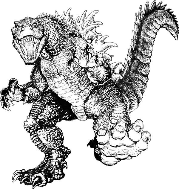 Terrifying Godzilla Coloring Pages | Color Luna