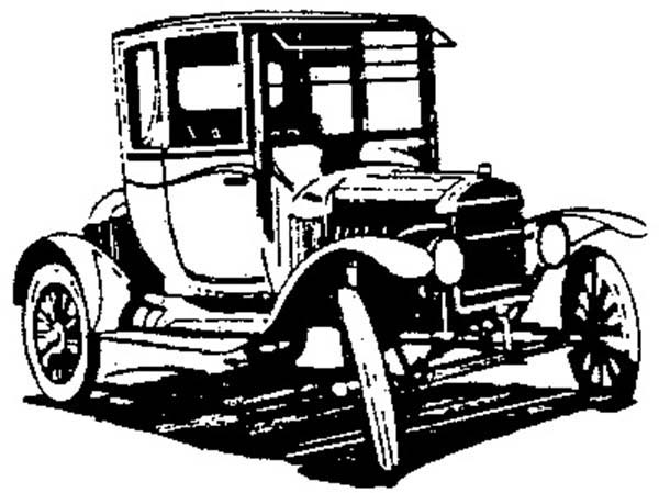 Model t Car, Test Drive Model T Car Coloring Pages: Test Drive Model T Car Coloring Pages