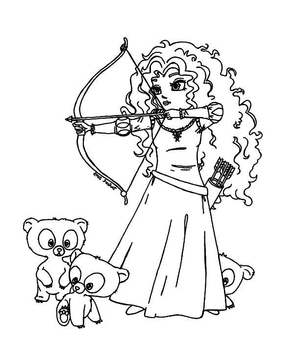 Three Little Cute Bear And Princess Merida Coloring Pages