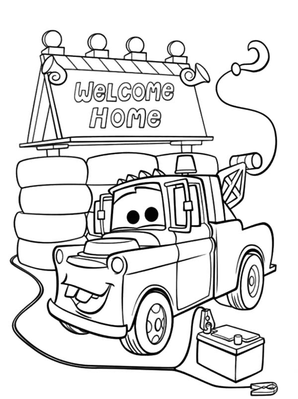 tow mater house coloring pages