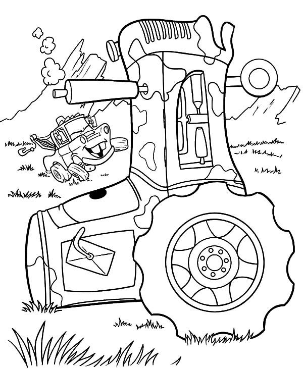 Mater, Tow Mater Laughs At Guido Falling Down Coloring Pages: Tow Mater Laughs at Guido Falling Down Coloring Pages