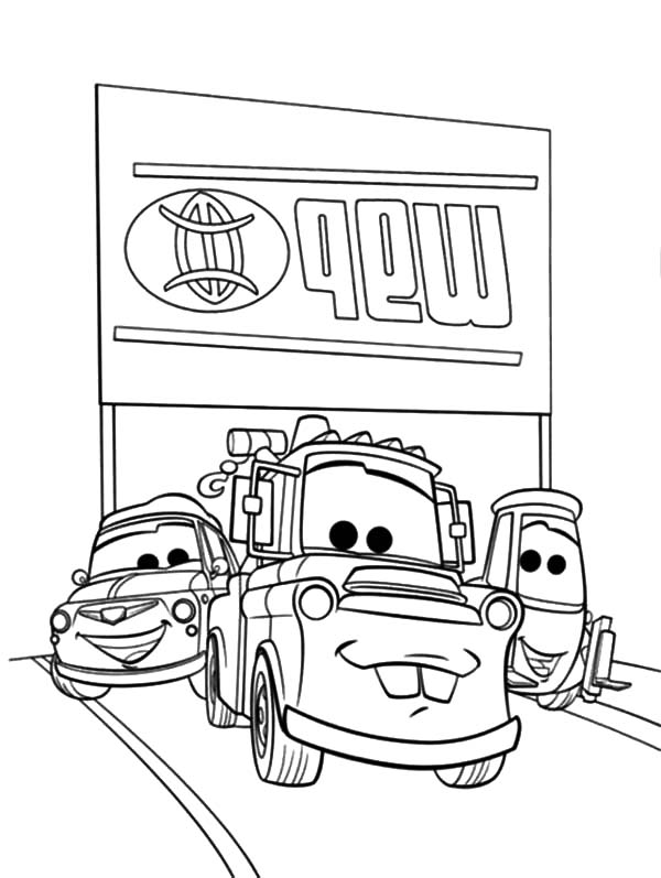 Mater, Tow Mater Loved By His Friends Coloring Pages: Tow Mater Loved by His Friends Coloring Pages