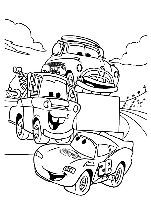 Tow Mater Say Hallo to McQueen Coloring Pages | Color Luna